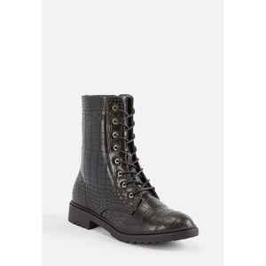 JustFab black croc combat boots